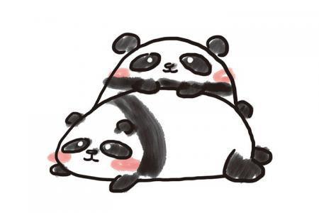 一组萌萌哒大熊猫简笔画图片