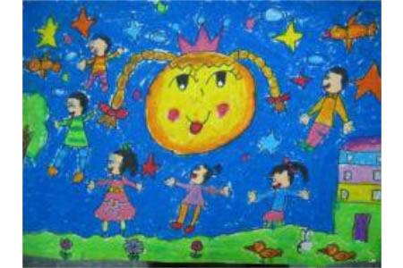 关于中秋节儿童画-欢乐中秋