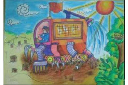 多功能挖掘机,国庆节主题儿童画作品欣赏