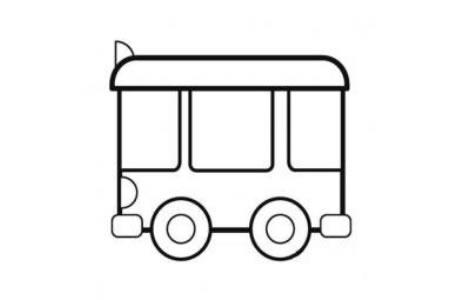 幼儿简笔画 简单的公共汽车简笔画