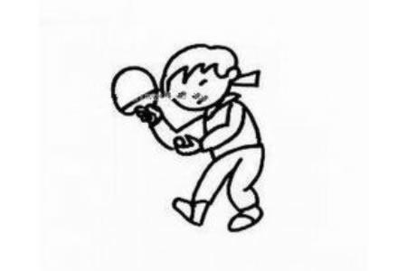 打乒乓球的小男孩