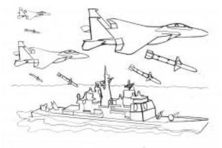 军舰和战斗机