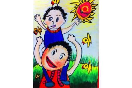 父亲节儿童画 我和爸爸儿童画作品
