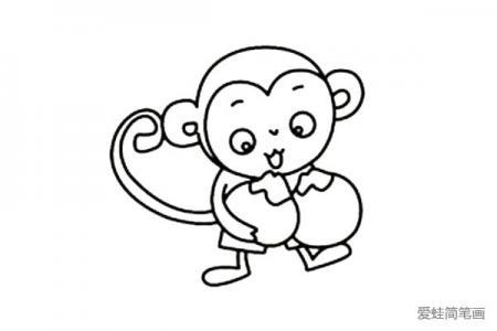 抱着桃子的小猴子