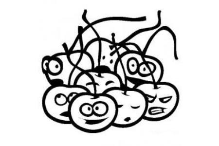 水果简笔画图片大全 卡通樱桃简笔画