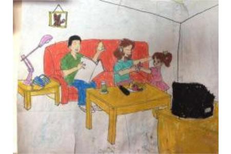 儿童画妇女节图片-妈妈吃苹果