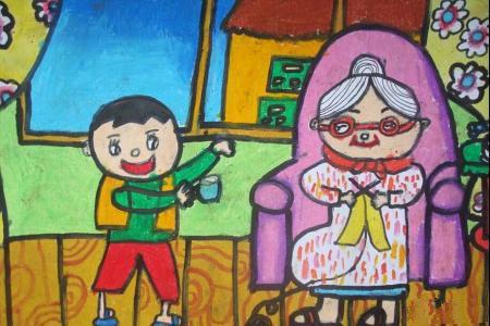 快乐重阳节儿童画-我给奶奶倒杯水