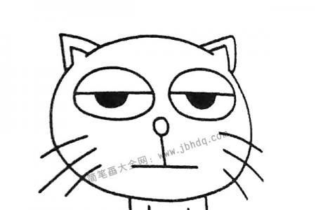 发呆的小猫简笔画图片