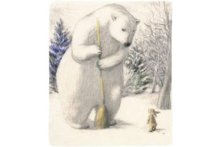卡通冬天雪景画作品之扫地的北极熊