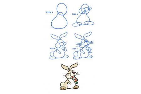 简笔画教程 吃胡萝卜的兔子简笔画步骤图
