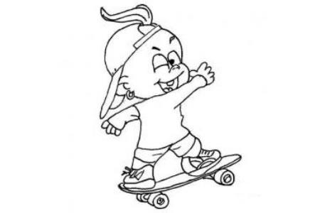 玩滑板的小男孩