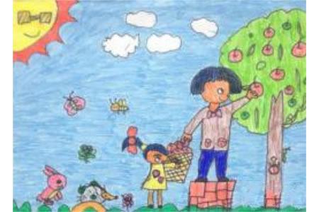 儿童画帮妈妈摘苹果