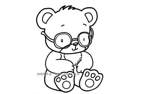 戴眼镜的玩具小熊
