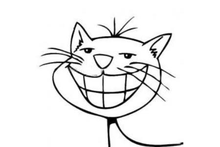 大笑的猫简笔画图片