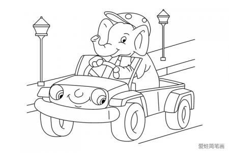 开着小汽车的大象