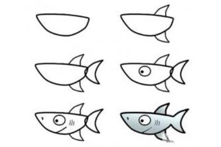 幼儿简笔画教程大全 鲨鱼简笔画步骤