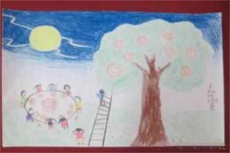 欢庆中秋节儿童画作品-月下中秋