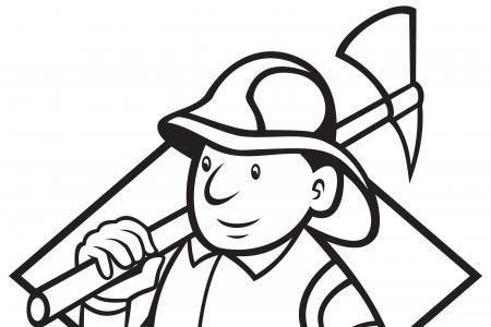 拿着斧子的消防员