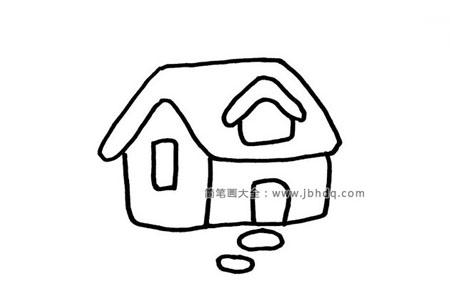 雪天里的房子简笔画图片
