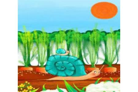 儿童画 蜗牛妈妈与蜗牛宝宝