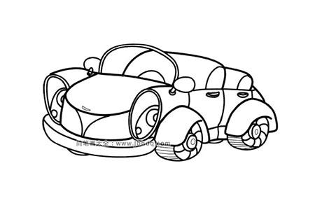 可爱的敞篷小汽车简笔画