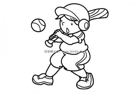 小男孩打棒球简笔画图片