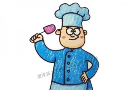 自信的厨师简笔画图片