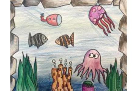 漂亮的海底世界儿童蜡笔画作品欣赏