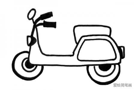简笔画交通工具摩托车