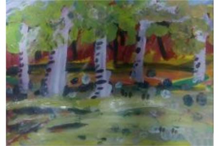 美丽的秋天儿童水彩画作品