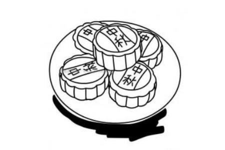 卡通中秋月饼简笔画图片