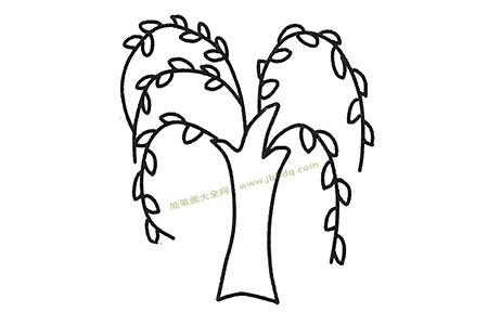 儿童简笔画大全 漂亮的柳树简笔画图片
