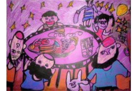 中秋节主题儿童画-中秋大团圆