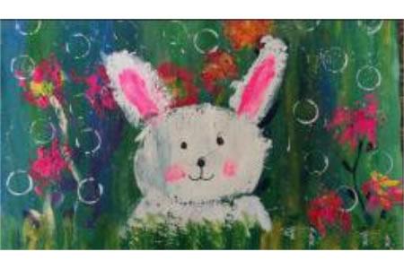 天上的月兔,中秋节日儿童画作品