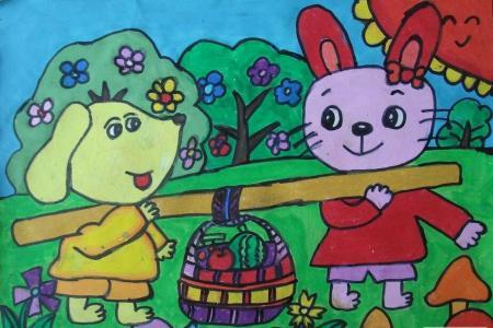小狗和小兔子爱劳动主题绘画作品赏析