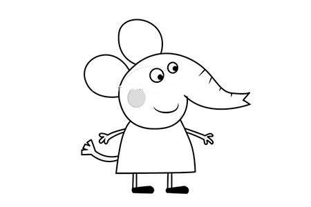 小猪佩奇之小象爱德蒙简笔画