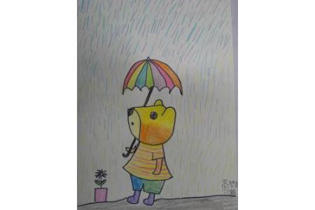 儿童画小熊在打伞
