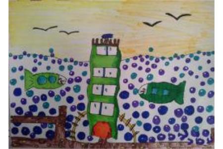 儿童画春天里的海洋世界