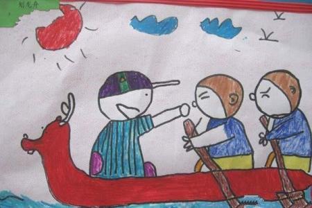 幼儿园大班关于端午节的儿童画作品:赛龙舟