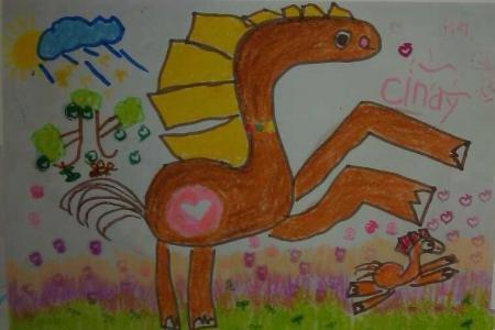 欢度春节儿童画-小马和妈妈赛跑
