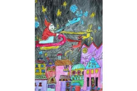 圣诞节儿童画 圣诞之夜