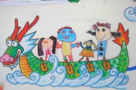 有关端午节的儿童画-绿色的端午节