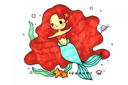 美丽又可爱的小美人鱼简笔画教程