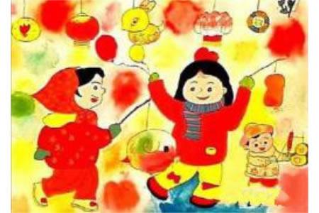 元宵节闹花灯儿童画图片