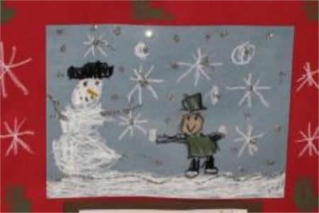 我和雪人一起玩耍儿童画冬天的一幅画分享