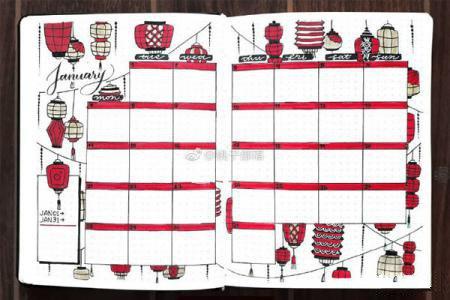 红色喜庆新年主题手帐手抄报排版 