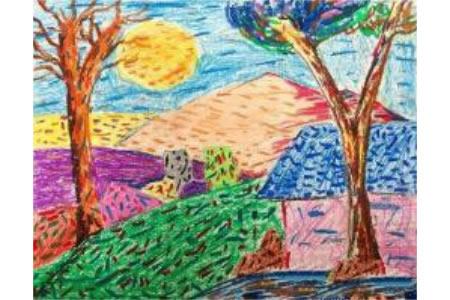 一起欣赏美丽的月亮中秋绘画