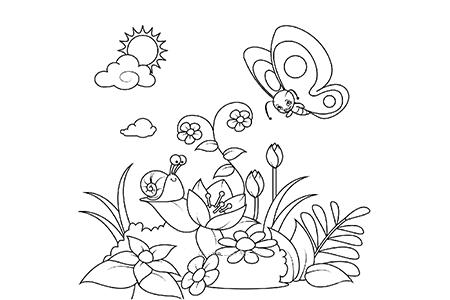 花园里的蝴蝶和蜗牛