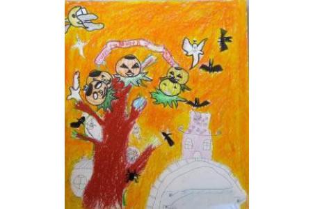 儿童画万圣节图片-万圣节恶作剧