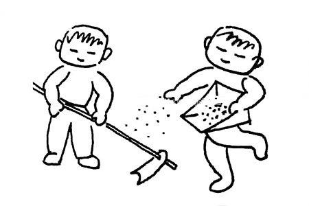 劳动节简笔画:春天播种